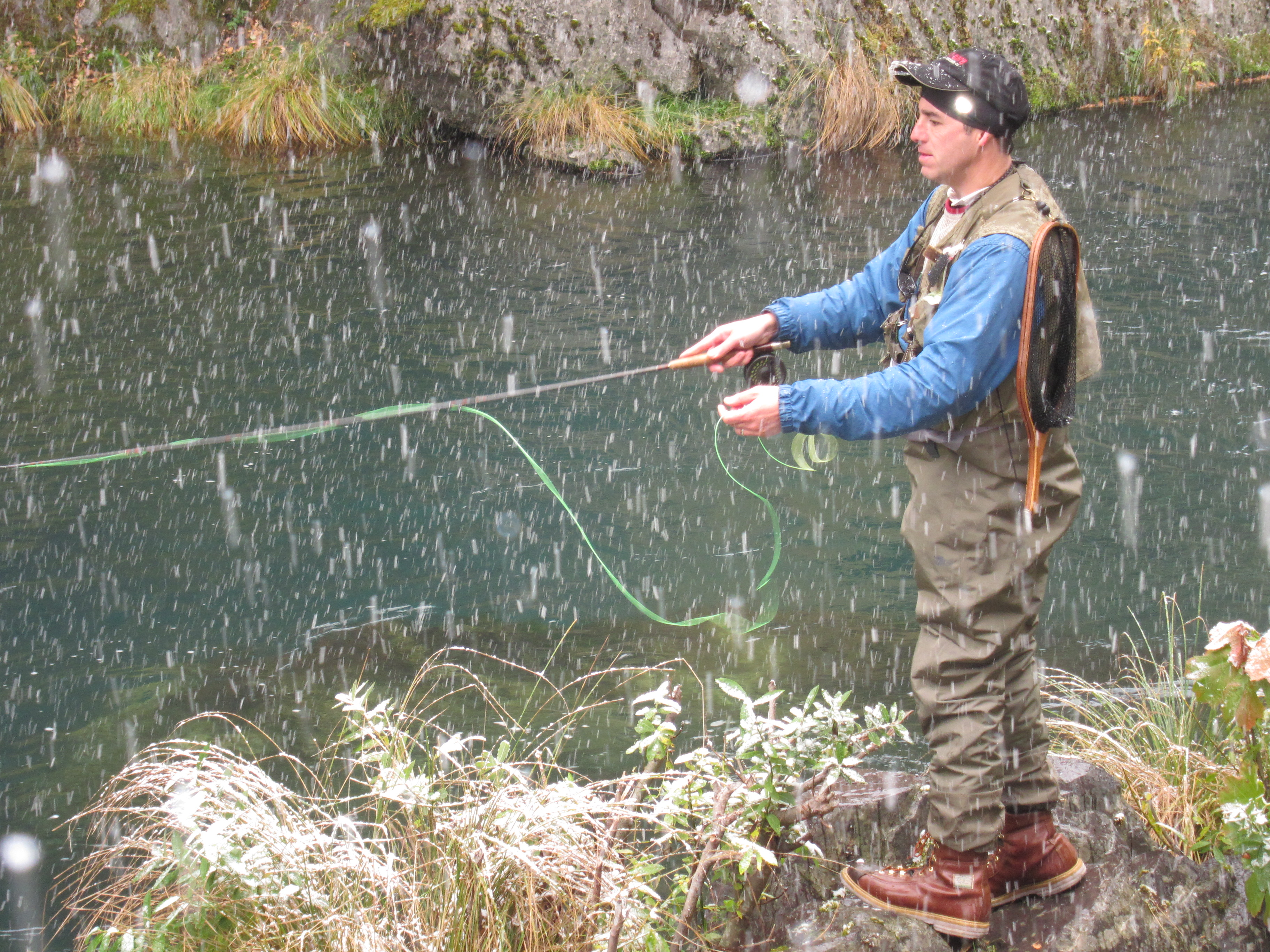Peter Fishing in Snow